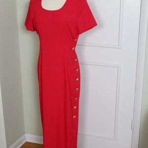 Vintage 80s Button Down Wiggle Dress
